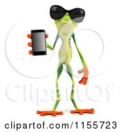 Clipart Of A 3d Argie Frog Wearing Sunglasses And Holding A Smart Phone Royalty Free CGI Illustration