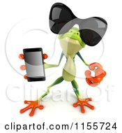 Clipart Of A 3d Argie Frog Wearing Sunglasses Holding A Smart Phone And Pointing Outwards Royalty Free CGI Illustration