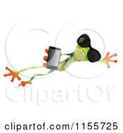 Clipart Of A 3d Argie Frog Wearing Sunglasses Holding A Smart Phone And Leaping Royalty Free CGI Illustration