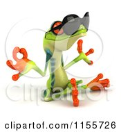 Clipart Of A 3d Argie Frog Wearing Sunglasses And Meditating Royalty Free CGI Illustration
