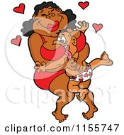 Cartoon Of A Chubby Black Woman Squishing A Man Between Her Breasts Royalty Free Vector Illustration by LaffToon