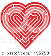 Clipart Of A Red Labyrinth Heart Royalty Free Vector Illustration