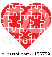 Clipart Of A Red Puzzle Heart Royalty Free Vector Illustration