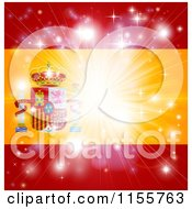 Clipart Of A Firework Burst Over A Spanish Flag Royalty Free Vector Illustration