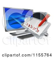 Clipart Of A 3d Check List Clip Board Over A Desktop Computer Royalty Free Vector Illustration