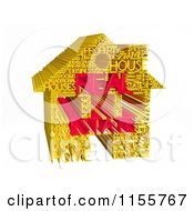 Clipart Of A 3d Gold And Red Real Estate Word Collage House Royalty Free CGI Illustration by MacX