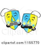 Blue And Yellow Mustached Theater Masks