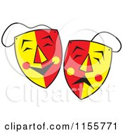 Cartoon Of Red And Yellow Comedy And Drama Theater Masks Royalty Free Vector Illustration