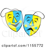 Cartoon Of Blue And Yellow Comedy And Drama Theater Masks Royalty Free Vector Illustration