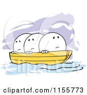 Cartoon Of Nervous Moodie Characters In The Same Boat Royalty Free Vector Illustration
