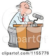 Cartoon Of A Confused Speaker At A Podium Royalty Free Vector Illustration by Johnny Sajem