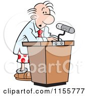 Cartoon Of A Confused Speaker At A Podium In His Boxers Royalty Free Vector Illustration by Johnny Sajem