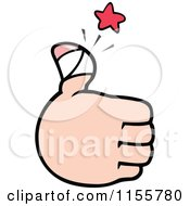 Cartoon Of A Hand Holding Up A Sore Thumb Royalty Free Vector Illustration by Johnny Sajem