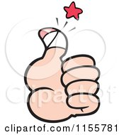 Cartoon Of A Hand Holding A Sore Thumb Up Royalty Free Vector Illustration by Johnny Sajem