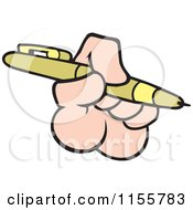 Cartoon Of A Hand Holding A Pen Royalty Free Vector Illustration by Johnny Sajem