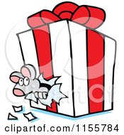 Cartoon Of A Mouse Chewing Through A Gift Box Royalty Free Vector Illustration