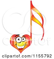 Clipart Of A Happy Red Heart Music Note Royalty Free Vector Illustration by Andrei Marincas