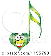 Clipart Of A Happy Green Heart Music Note Royalty Free Vector Illustration by Andrei Marincas