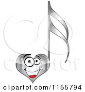 Clipart Of A Happy Silver Heart Music Note Royalty Free Vector Illustration by Andrei Marincas