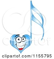 Clipart Of A Happy Blue Heart Music Note Royalty Free Vector Illustration by Andrei Marincas