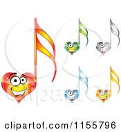 Clipart Of Happy Heart Music Notes Royalty Free Vector Illustration by Andrei Marincas