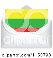 Clipart Of A Lithuanian Flag Letter In An Envelope Royalty Free Vector Illustration