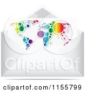 Clipart Of A Colorful Map Letter In An Envelope Royalty Free Vector Illustration