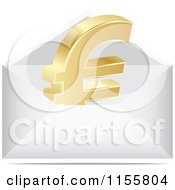 3d Gold Euro Symbol Letter In An Envelope
