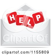Clipart Of A Help Letter In An Envelope Royalty Free Vector Illustration