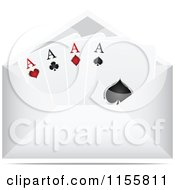 Clipart Of A Playing Card Letter In An Envelope Royalty Free Vector Illustration by Andrei Marincas