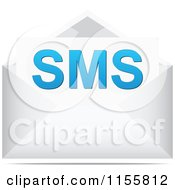 Clipart Of A SMS Letter In An Envelope Royalty Free Vector Illustration