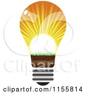 Clipart Of A Lightbulb With Sun Rays Royalty Free Vector Illustration by Andrei Marincas