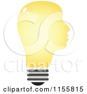 Clipart Of A Yellow Lightbulb Head Royalty Free Vector Illustration by Andrei Marincas