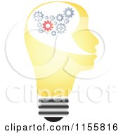 Clipart Of A Yellow Lightbulb Head With Gears Royalty Free Vector Illustration by Andrei Marincas