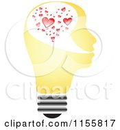 Clipart Of A Yellow Lightbulb Head With Hearts Royalty Free Vector Illustration by Andrei Marincas