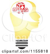 Clipart Of A Yellow Lightbulb Head With Help Boxes Royalty Free Vector Illustration by Andrei Marincas