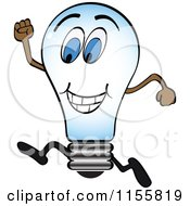 Clipart Of A Running Lightbulb Royalty Free Vector Illustration by Andrei Marincas