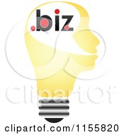 Clipart Of A Yellow Lightbulb Head With Dot Biz Royalty Free Vector Illustration by Andrei Marincas