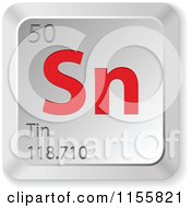 Clipart Of A 3d Red And Silver Tin Chemical Element Keyboard Button Royalty Free Vector Illustration