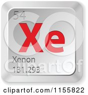 Clipart Of A 3d Red And Silver Xenon Chemical Element Keyboard Button Royalty Free Vector Illustration