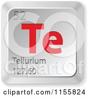 Clipart Of A 3d Red And Silver Tellurium Chemical Element Keyboard Button Royalty Free Vector Illustration