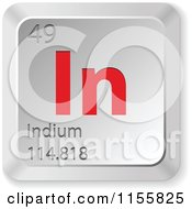 Clipart Of A 3d Red And Silver Indium Chemical Element Keyboard Button Royalty Free Vector Illustration