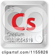 Clipart Of A 3d Red And Silver Caesium Chemical Element Keyboard Button Royalty Free Vector Illustration