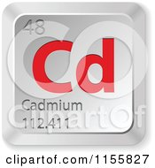Clipart Of A 3d Red And Silver Cadmium Chemical Element Keyboard Button Royalty Free Vector Illustration