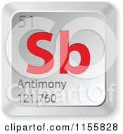 Clipart Of A 3d Red And Silver Antimony Chemical Element Keyboard Button Royalty Free Vector Illustration