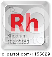Clipart Of A 3d Red And Silver Rhodium Chemical Element Keyboard Button Royalty Free Vector Illustration