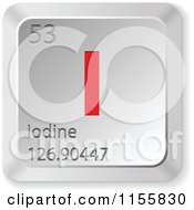 Clipart Of A 3d Red And Silver Iodine Chemical Element Keyboard Button Royalty Free Vector Illustration