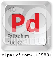 Clipart Of A 3d Red And Silver Palladium Chemical Element Keyboard Button Royalty Free Vector Illustration