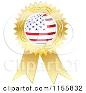 Clipart Of A Gold American Medal Royalty Free Vector Illustration