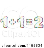 Clipart Of A Colorful Light Math Equation Of One Plus One Equals Two Royalty Free Vector Illustration